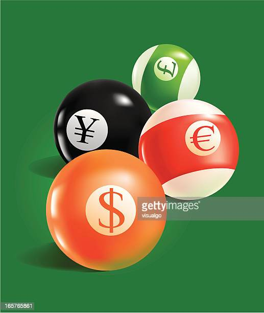billiards with currency signs