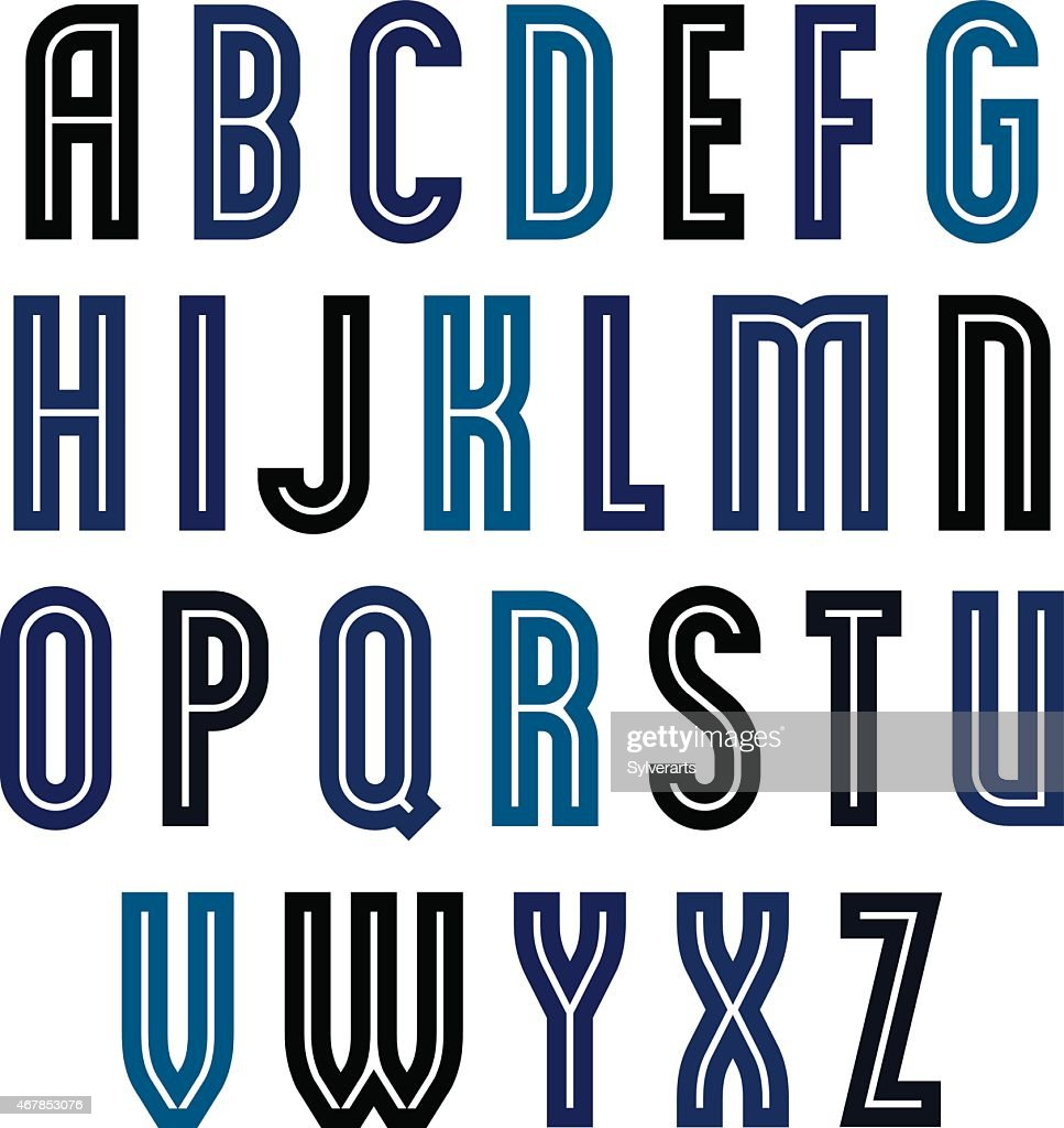 Binary geometric font, colorful uppercase letters