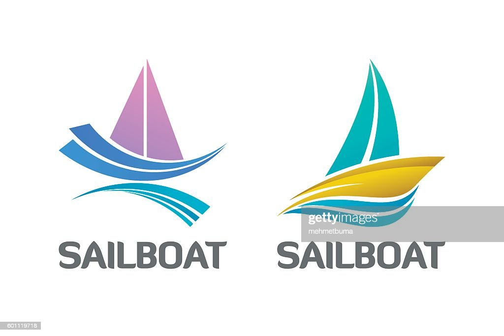 Binary Set of Nautical Sailboat Logo Symbol