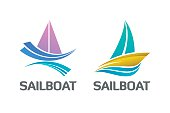 Binary Set of Nautical Sailboat Logo Symbol