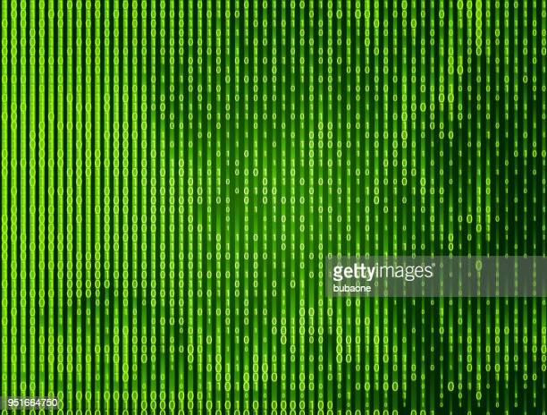 Binary Zero and One Falling Green Vector Background