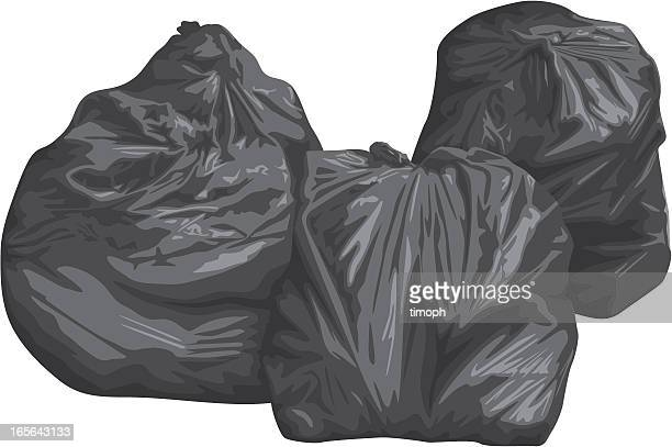 binbags x3 - bin bag stock illustrations