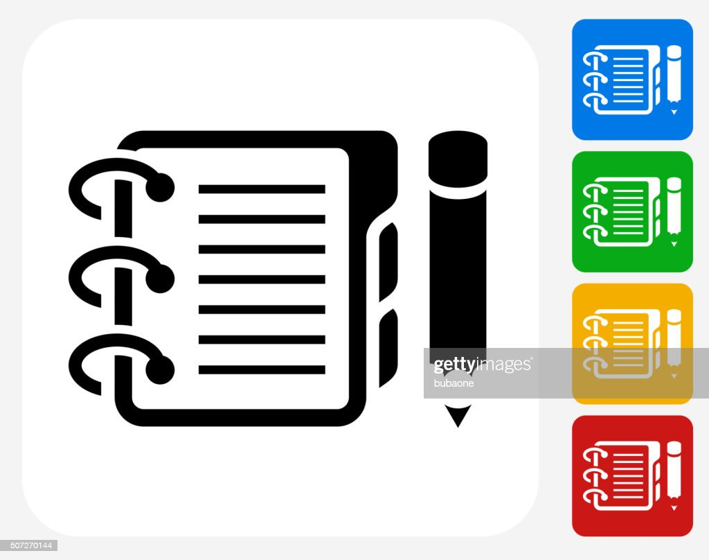 Binder and Pencil Icon Flat Graphic Design