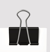 Binder clip on gray background. Vector illustration