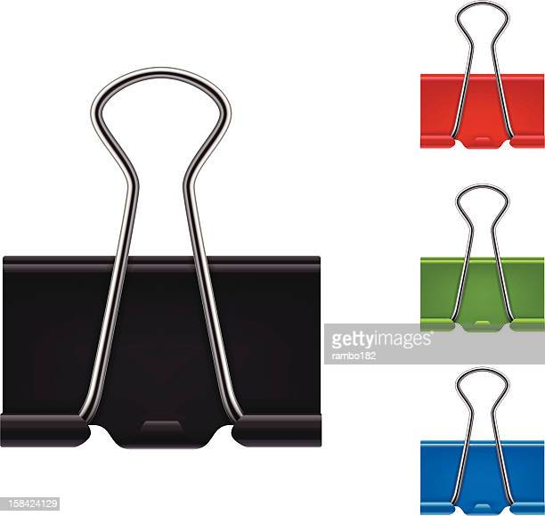 binder clips - paper clip stock illustrations, clip art, cartoons, & icons