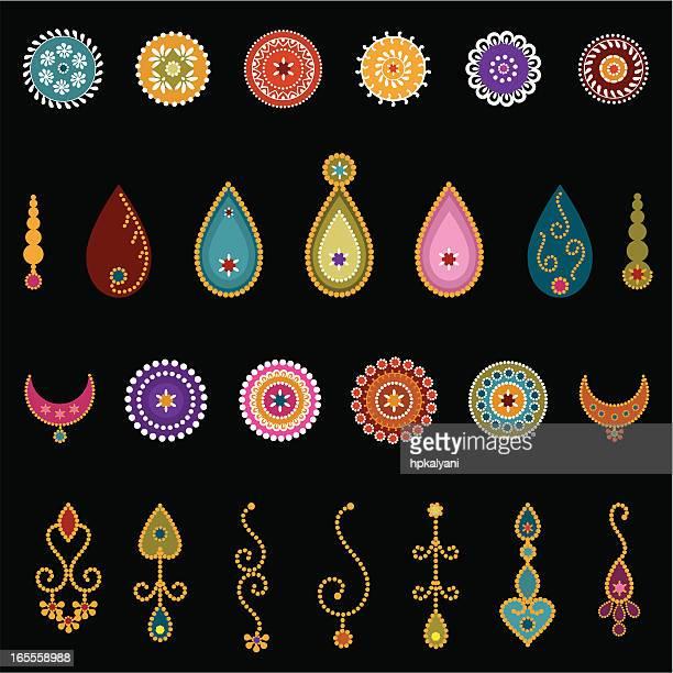 bindi designs (vector) - bindi stock illustrations