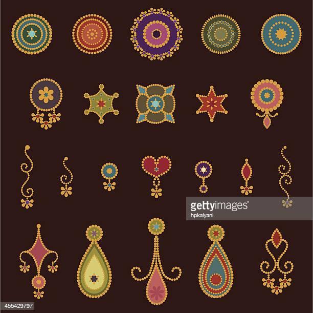 bindi designs - bindi stock illustrations