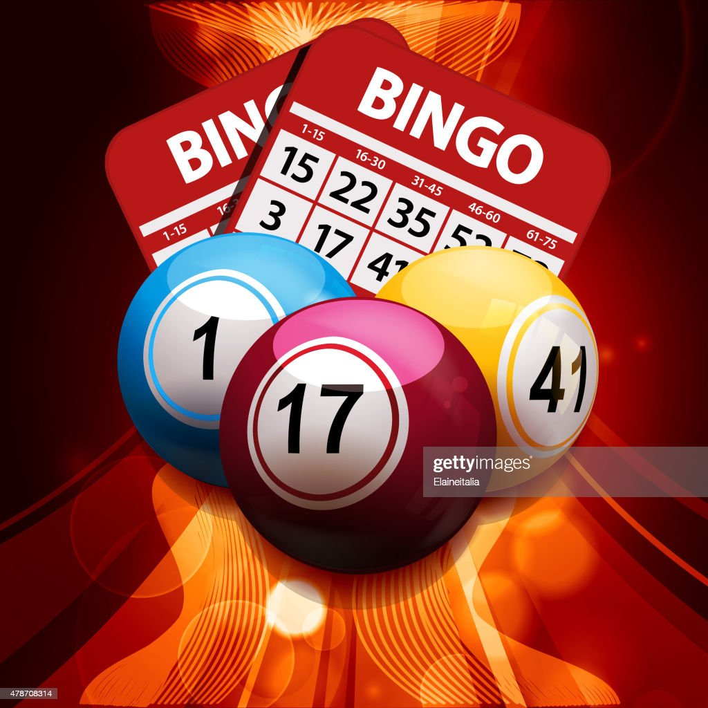 bingo balls and cards on glowing abstract background