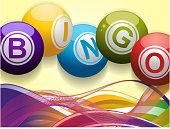 Bingo balls and waves background