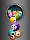 bingo balls falling from a metallic ring background
