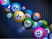 Bingo balls on honeycomb metallic background