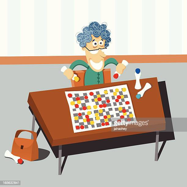 bingo grandma - bingo stock illustrations