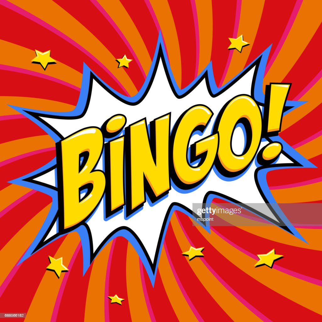 Bingo lottery poster. Lottery game background. Comics pop-art style bang shape on a red twisted background