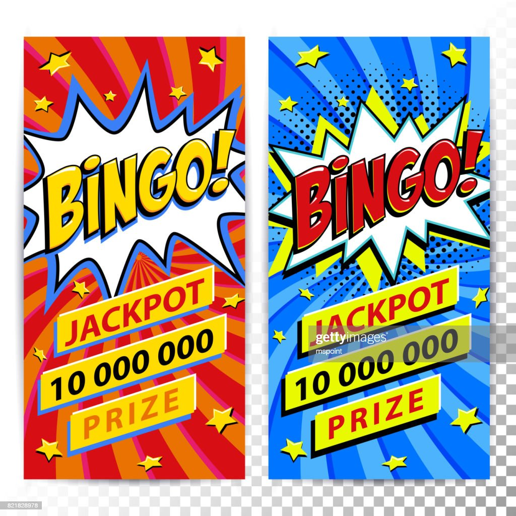 Bingo lottery web banners. Lottery game background. Comics pop-art style bang shape on a red twisted background. Ideal for web banners