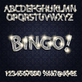Bingo. Silver glowing alphabet and numbers