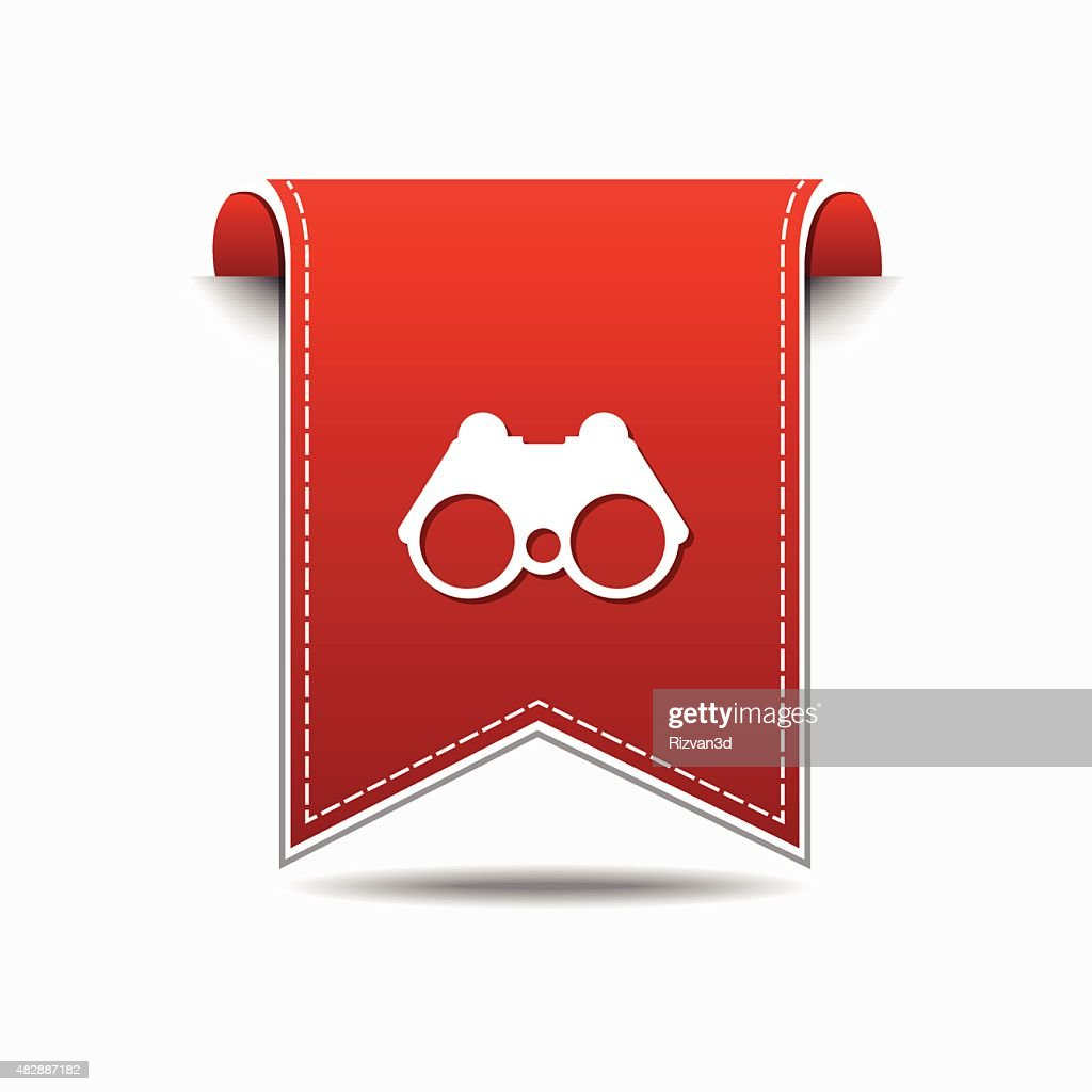 Binocular Red Vector Icon Design