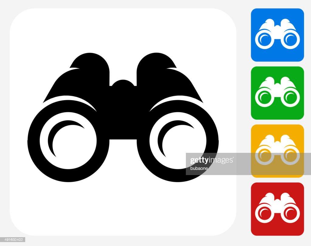 Binoculars Icon Flat Graphic Design