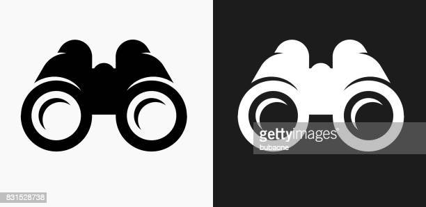 binoculars icon on black and white vector backgrounds - clip art stock illustrations, clip art, cartoons, & icons