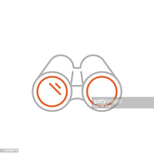 fernglas-symbol mit editierbarem strich - fernglas stock-grafiken, -clipart, -cartoons und -symbole