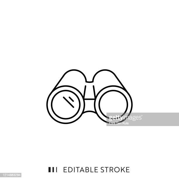 binoculars line icon with editable stroke and pixel perfect. - discovery stock illustrations