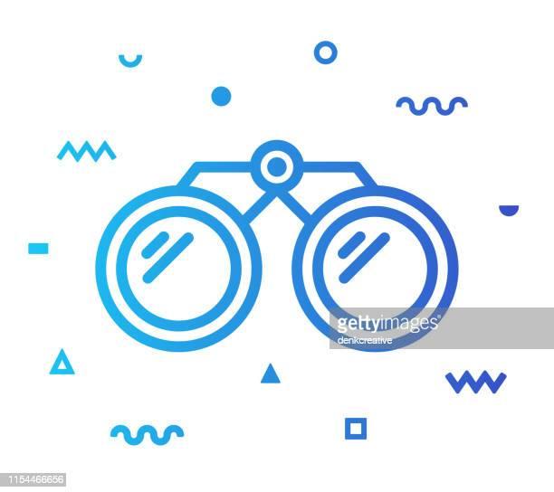 illustrazioni stock, clip art, cartoni animati e icone di tendenza di design dell'icona stile linea binocolo - guardare il paesaggio