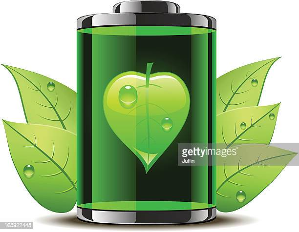 bio battery with leaves - biodiesel stock illustrations, clip art, cartoons, & icons
