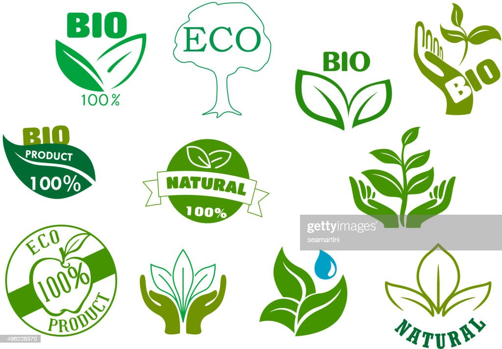 Bio, eco and natural products green symbols