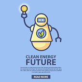 Bio energy technology of the future.Clean green energy.Robot holding a light bulb.Eco-friendly bio robot running on bio fuel.