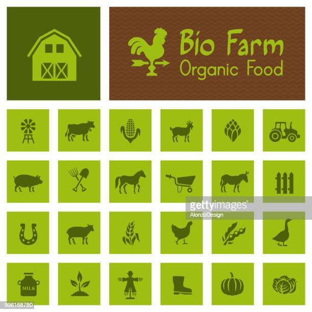 ilustraciones, imágenes clip art, dibujos animados e iconos de stock de bio granja iconos - granja