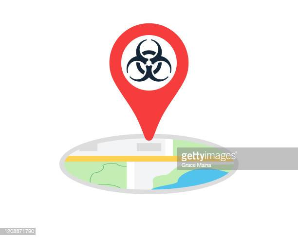 bio hazard symbol with navigation location map pin icon vector illustration - rocky mountain spotted fever stock illustrations