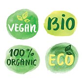 Bio natural food concept. Set of vector labels