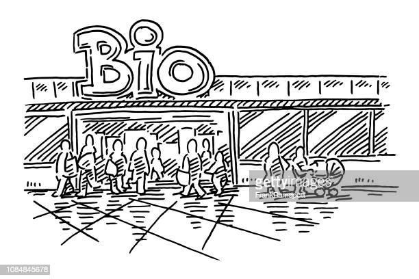 Bio-Supermarkt einkaufen Menschen Zeichnung
