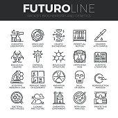 Biochemistry and Genetics Futuro Line Icons Set