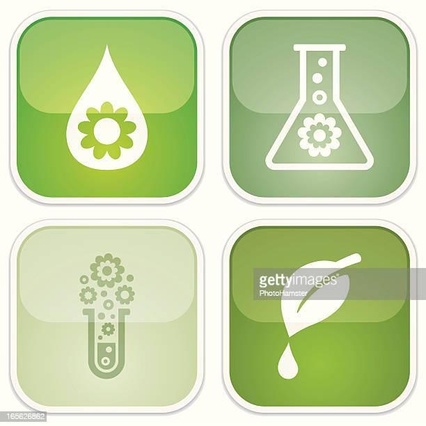 ilustraciones, imágenes clip art, dibujos animados e iconos de stock de biodegradable símbolos-eco brillante - material de vidrio de laboratorio