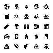 Biohazard Glyph Vector Icons Set