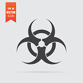 Biohazard icon in flat style isolated on grey background.