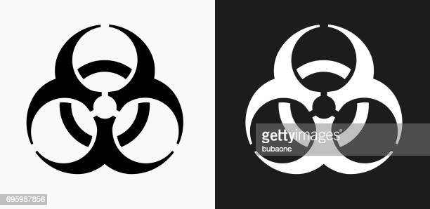 Biohazard Icon on Black and White Vector Backgrounds