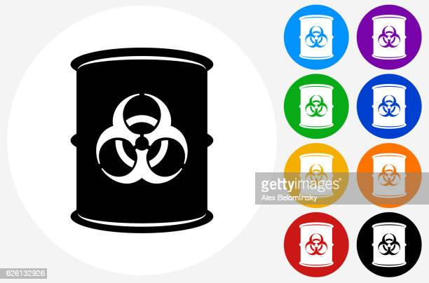 Biohazard Icon on Flat Color Circle Buttons