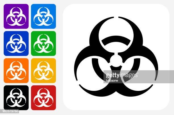 Biohazard Icon Square Button Set
