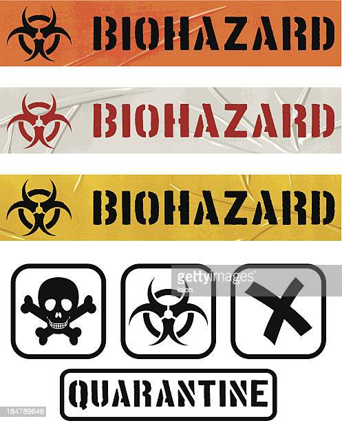 biohazard seamless duct tape sets and quarantine icons - crumpled stock illustrations