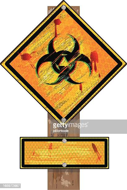 biohazard sign on wood post | grunge - judgment day apocalypse stock illustrations, clip art, cartoons, & icons
