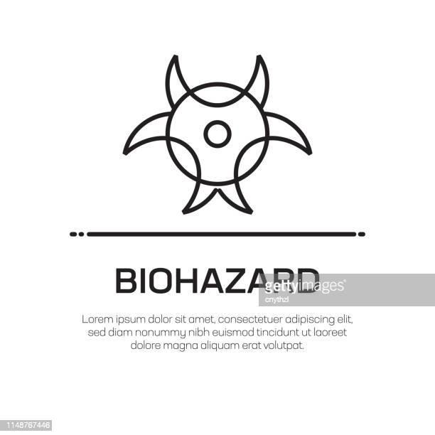 ilustraciones, imágenes clip art, dibujos animados e iconos de stock de icono de línea vectorial biohazard: icono de línea delgada simple, elemento de diseño de calidad premium - arma biológica