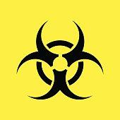 Biohazard warning symbol on yellow background. vector .