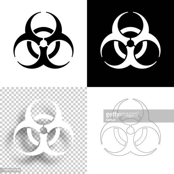 ilustraciones, imágenes clip art, dibujos animados e iconos de stock de símbolo de peligro biológico. icono para el diseño. fondos en blanco, blanco y negro - icono de línea - arma biológica