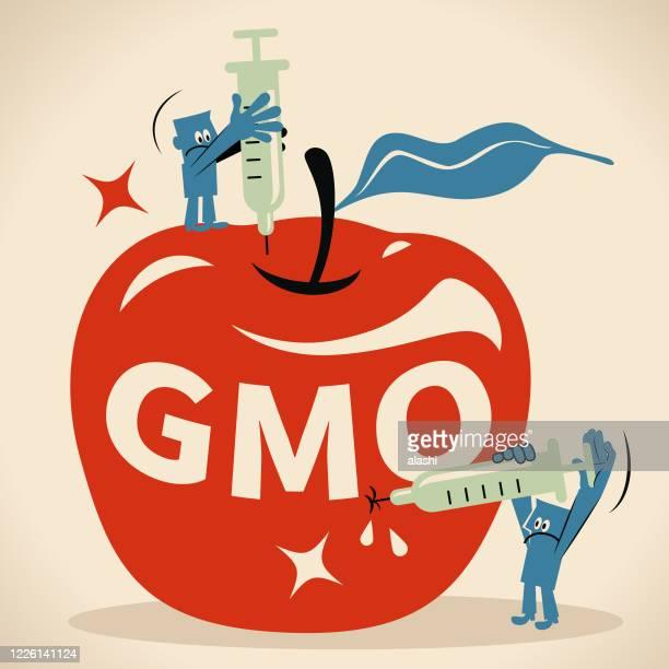 bildbanksillustrationer, clip art samt tecknat material och ikoner med biolog (forskare, ingenjör, läkare, biokemist) injicerar droger med en spruta i ett rött äpple. livsmedelsgeneterteknik, gmo- och genmanipulationskoncept - vangen
