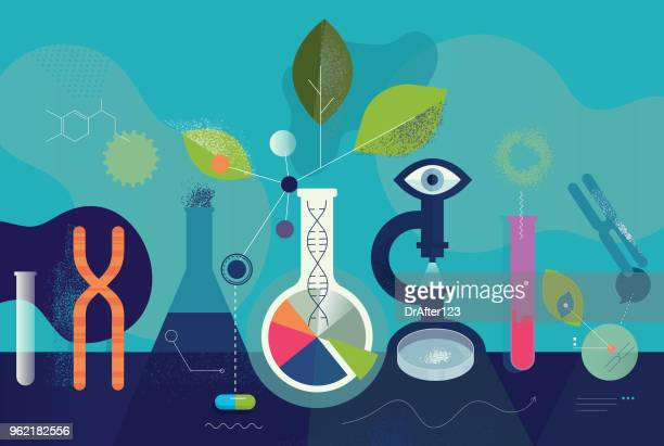biomedical research laboratory concept - science stock illustrations