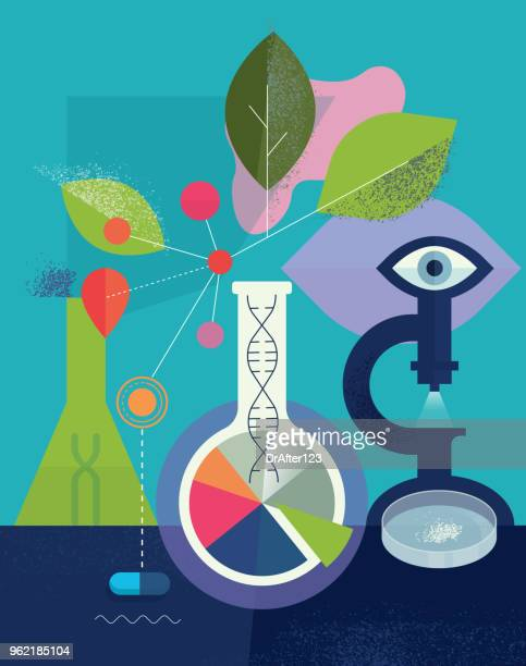biomedical_research_science_concept - nanoparticle stock illustrations, clip art, cartoons, & icons