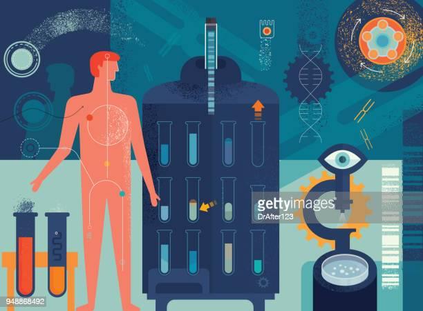 biomedicine concept - rna stock illustrations, clip art, cartoons, & icons