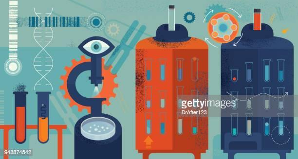 biomedicine horizontal concept - rna stock illustrations, clip art, cartoons, & icons