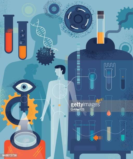 biomedicine vertical concept - genetic research stock illustrations
